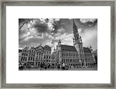 Town Hall In The Grand Place Framed Print by Georgia Fowler