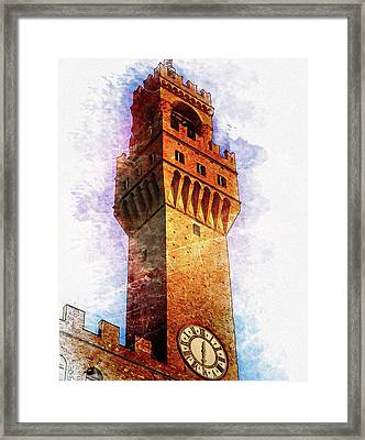 Town Hall Tower In Florence - By Diana Van Framed Print by Diana Van
