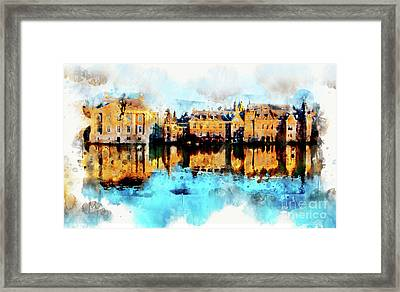 Framed Print featuring the digital art Town Life In Watercolor Style by Ariadna De Raadt