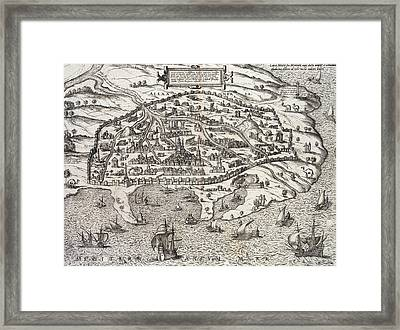 Town Map Of Alexandria In Egypt Framed Print by Unknown