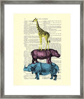 Safari Animals Town Musicians Of Bremen Parody Framed Print