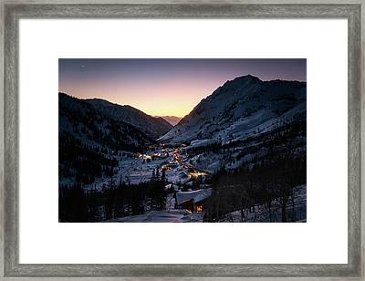 Town Of Alta At Dusk Framed Print