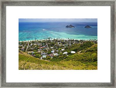 Town Of Kailua With Mokulua Islands Framed Print