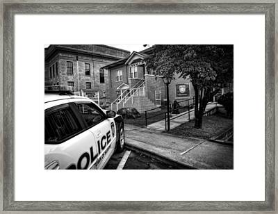 Town Of Murphy Police In Black And White Framed Print by Greg Mimbs