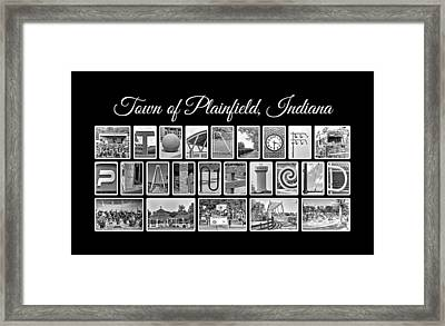 Town Of Plainfield Indiana In Black And White Framed Print by Dave Lee