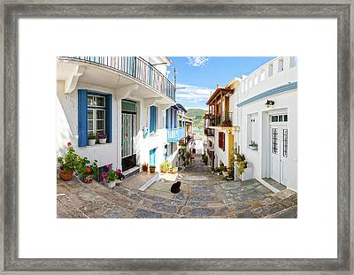 Town Of Skopelos Framed Print by Evgeni Dinev