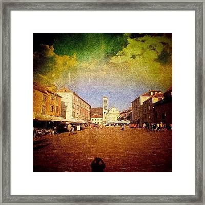 Town Square #edit - #hvar, #croatia Framed Print by Alan Khalfin