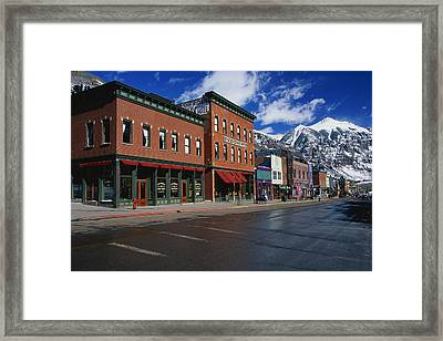 Town Stores Telluride Co Framed Print by Panoramic Images