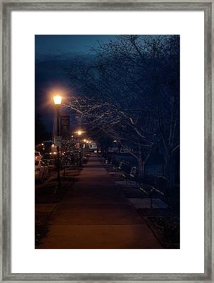 Town Street A Night Framed Print