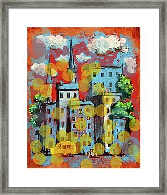 Town With A School Bus Framed Print