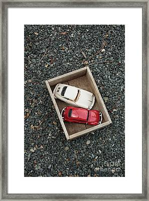Toy Cars In Wooden Box Framed Print by Edward Fielding