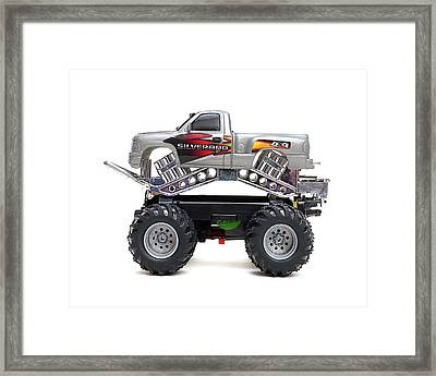 Toy Monster Truck Isolated On White Background Framed Print by Donald Erickson