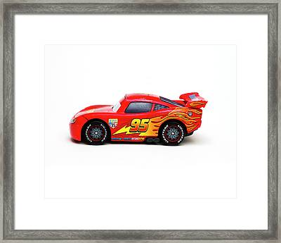 Toy Red Sports Car Isolated On White Background Framed Print