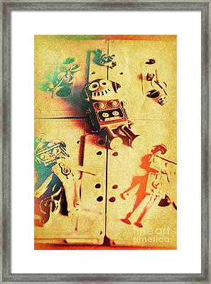 Toy Robots On Vintage Cassettes Framed Print by Jorgo Photography - Wall Art Gallery