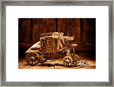 Toy Stagecoach - Sepia Framed Print