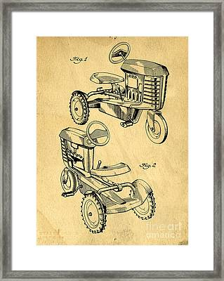 Toy Tractor Patent Drawing Framed Print by Edward Fielding