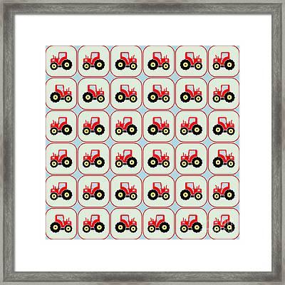 Toy Tractor Pattern Framed Print by Gaspar Avila