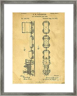 Toy Train Original Vintage Patent Art Framed Print by Edward Fielding