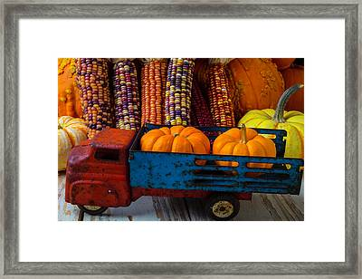 Toy Truck And Pumpkins Framed Print by Garry Gay