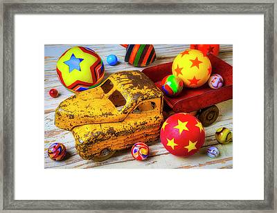 Toy Truck With Balls And Marbles Framed Print
