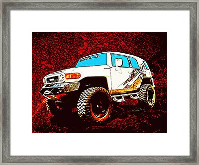 Toyota Fj Cruiser 4x4 Cartoon Panel From Vivachas Framed Print