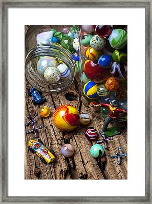 Toys And Marbles Framed Print by Garry Gay