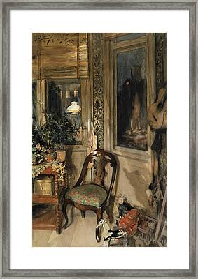 Toys In The Corner Framed Print by Carl Larsson
