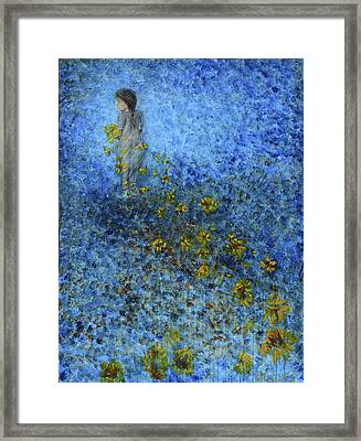 Framed Print featuring the painting Traces Sunflowers Lost by Nik Helbig