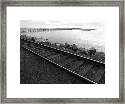Tracks And Pier Framed Print by Mark Alan Perry