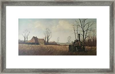 Framed Print featuring the painting Traction Engine. by Mike Jeffries