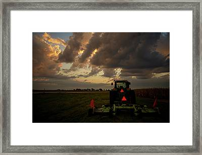 Tractor At Sunrise - Chester Nebraska Framed Print