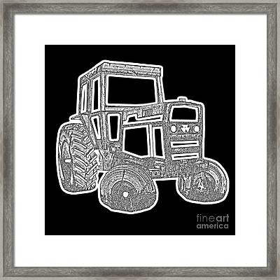 Funky Tractor Graphic Pen Ink Framed Print