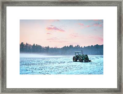 Tractor In A Snowy Field Durham Nh Framed Print by Eric Gendron
