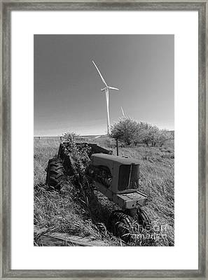 Tractor In The Wind Framed Print