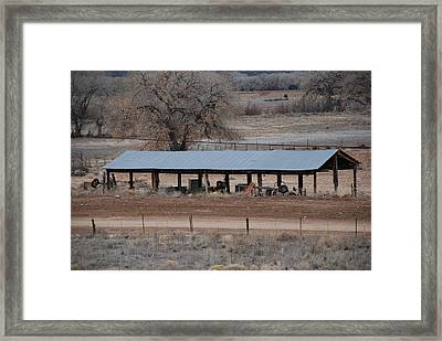 Tractor Port On The Ranch Framed Print by Rob Hans