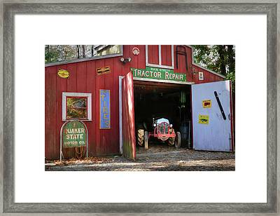 Tractor Repair Shop Framed Print by Lori Deiter