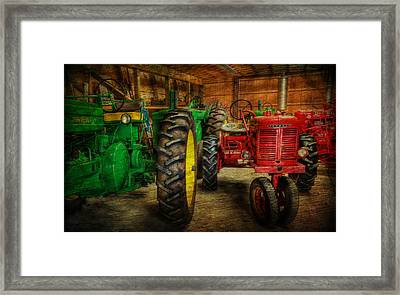 Tractors At Rest - John Deere - Mccormick - Farmall - Farm Equipment - Nostalgia - Vintage Framed Print