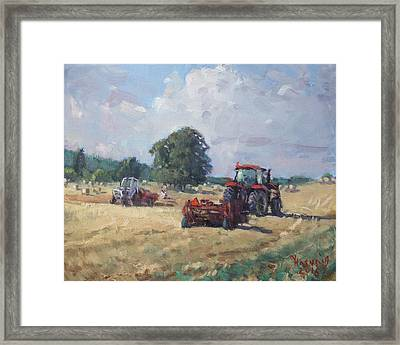 Tractors In The Farm Georgetown Framed Print by Ylli Haruni