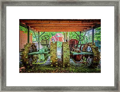Framed Print featuring the photograph Tractors Side By Side by Debra and Dave Vanderlaan