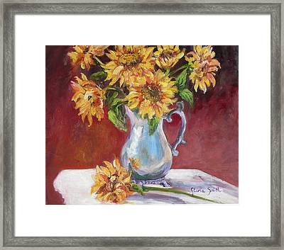 Tracy's Sunflowers Framed Print