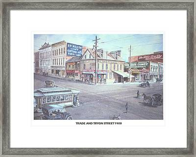 Trade And Tryon Street 1900 Framed Print by Charles Roy Smith