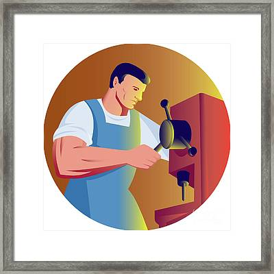 Trade Factory Worker Working With Drill Press Framed Print by Aloysius Patrimonio