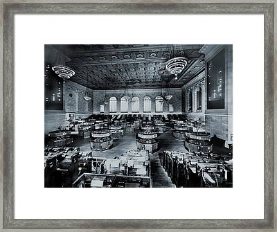 Trading Floor Of The Former New York Framed Print