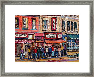 Tradition Schwartz's Line-up Montreal Smoked Meat Deli Painting Canadian  City Scene Carole Spandau Framed Print