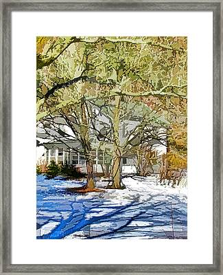 Traditional American Home In Winter Framed Print by Lanjee Chee