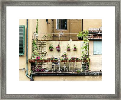 Traditional Balcony On A Home In Lucca Framed Print