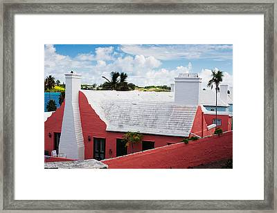 Traditional Bermuda Style House Framed Print by George Oze