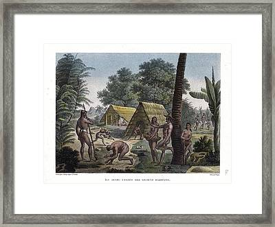 Framed Print featuring the drawing Traditional Customs Of The Chamorro Classes by d Apres A Pellion