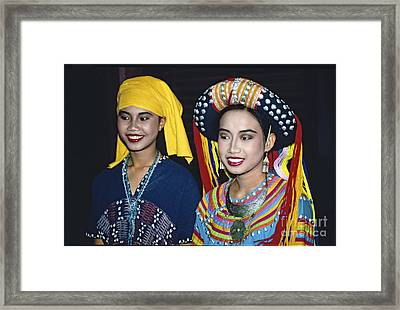 Framed Print featuring the photograph Traditional Dressed Thai Ladies by Heiko Koehrer-Wagner