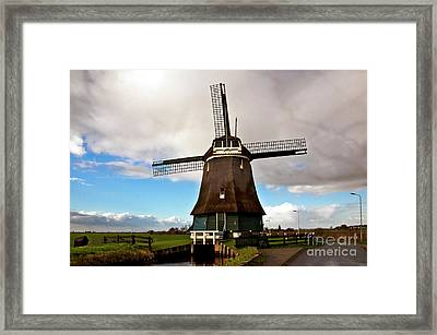 Traditional Dutch Windmill Near Volendam  Framed Print